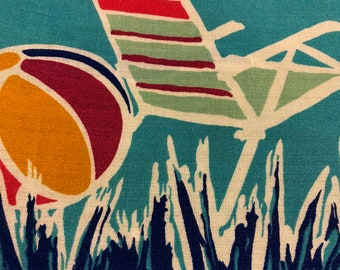 "70s ""Lazy, Crazy, Hazy Days of Summer"" Novelty Beach Border Print/Beach Balls, Umbrellas, Lounge Chairs, Cobalt, Red, Gold, Purple, Mint"