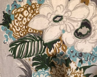 WINDSOR Luscious Silk Pongee Floral Aqua White Flowers Green Leaves on Silver Ground 1940s