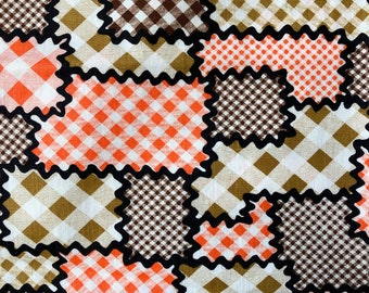 68 Wacky MOD Vintage Geometric/Quilted Pattern/Brown/Khaki/Orange/White Check/Surrounded by Black Brick a Brac Pattern