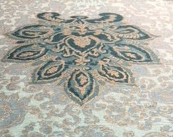 "50's Waverly Medallion Print ""KISMET"" Teal, Dark Forest Medallions & Leaves on Light Green Ground w/Bronze Hand Print Overlay"
