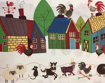 "The Beginning Fabrics ""Home To Roost"" Farmyard Horses, Cows, Roosters, Piggies, Sheep, Mice, Goats Doin//Border Print//OP"