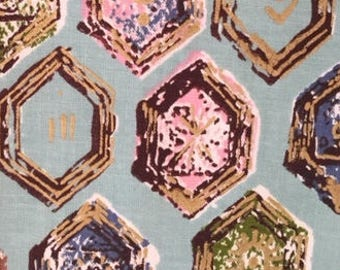 "Desley Design on ""INDIAN HEAD"" cotton Vintage Geo Jewels of Pink, Aqua, Olive, Blue, Brown//Surrounded Overlay of  Bronze on Aqua Ground 60s"