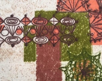 """60S MCM Barkcloth // """"HIGH FIDELITY"""" Abstract Print//Whimsical Patterns in Olive Pinwheels, Persimmon Blocks, w/Chocolate Grills"""