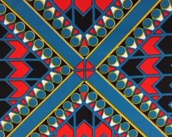 70's Mod Geometric  Print//Kaleidoscope of Brilliant Red, Blk, White Chevrons//Blue Circles Blocked in Cobalt Blue and Yellow Diamonds