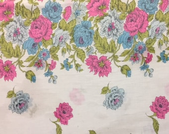 Sale Item - 40s Striking, Floral, Border Print/ A Celebration of Hot Pink, Baby Blue Flowers, Olive Leaves//All cotton/ BTY