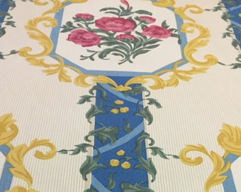 "90's Collection Guell Lamadrid Diseno ""GOTICO"" Import/ Rose Flower w/Butter Medallion/Grn Ivy/Blue Stripe on Brass/Hazel Pin Stripe Grnd"