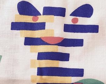70's The Wild Erector Animals/Juvenile Novelty/Rosewood Fabrics/Lions, Tigers, Monkeys, Giraffes, Alligators/Multi Hues White Ground