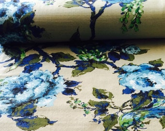 60's Vintage Barkcloth Floral print//Cobalt blue Flowers, Emerald green leaves//All cotton/ Med weight//Light Upholstery