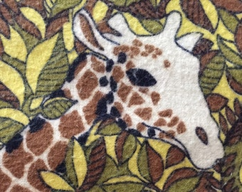 "SALE ITEM - 70s ""The Mighty Jungle""/Cotton Flannel/Zebras, Lions, Cheetahs & Giraffes/Leafy Camouflage Novelty Print in Earth Tones"