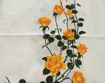 60s Alfred Shaheen Yello Rose Print on Off Wht Linen/Hand Printed in Hawaii//Sold by the Repeat//5 Continous Pieces Available on bolt