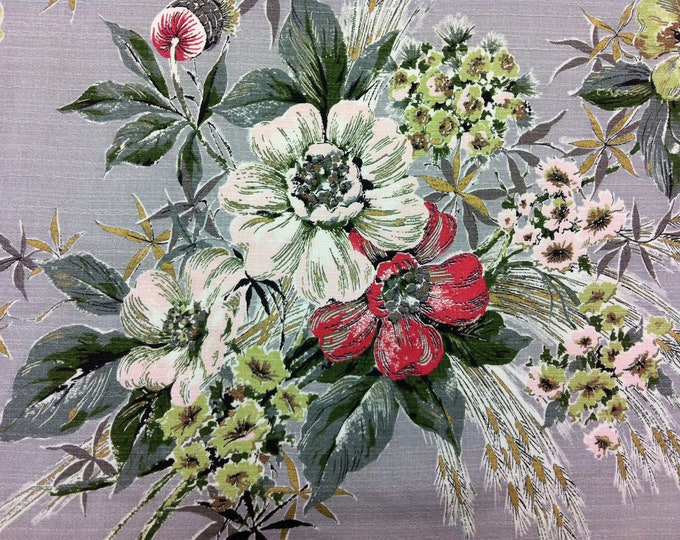 "Featured listing image: 50's Fabulous Prints by Tower ""Spring Bouquet"" with Pink/Lime/Red flowersand charcoal leaves on Silver Ground Barkcloth"