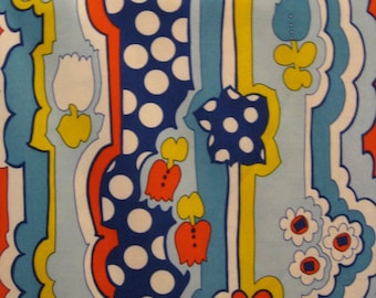 60s Vintage, Mod, Wacky Abstract//Peter Max Like//Multi Floral Stripe//Xtra Wide Poly Knit//BTY