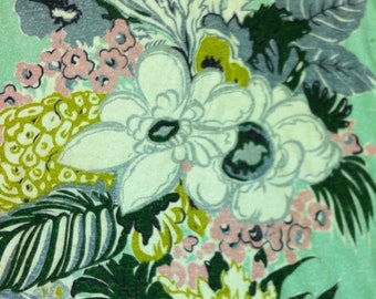 "40s A Co Fab Co Vat Print ""WINDSOR""//Luscious Import//Pongee Floral//Chartreuse/White/Pink Flowers//Mint Ground"