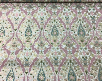 """50s Delicate Waverly Ogee Print """"BARODA"""" S-Waves of Flowing Lt Green, Pink, Rose Buds//Hnd Prnt//Dusty Rose Grnd w/Brass Overlays"""