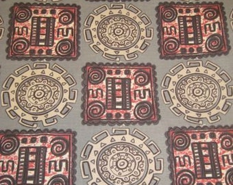 Vintage GEO TIKI  Pre-Columbian Movement 50s Montezuma Novelty Fabric Blocks & Circles of Medallions, Red, White, Charcoal on Grey Ground