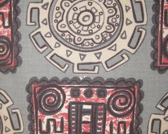 Vintage GEO TIKI  Pre-Columbian Movement 50s Montezuma Novelty Fabric Blocks & Circles of Medallions, Red, White, Charcoal on Grey Ground