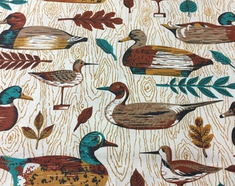 "60s Vintage ""Birds of a Feather Stick Together""/Wild Fowl/Mallards/Ducks Mustard Wood Grain/White Ground"