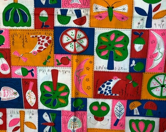 60s Nov NEON Print, Tiny Boxes, Tiny Boxes, Red Tulips, n'Orange Moons, Green Trees, w/Lady Bugs, Shrooms, Froggies , Butterflies,  n' Fish