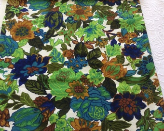 60s Vintage NEON Garden Print//5th Avenue Designs//Upholstery Weight//100% Linen//Cobalt, Midnight Blue, Lime, Olive, Teal, Ochre