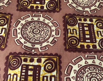 "50s Vintage ""TIKI"" Novelty Fabric//Inca/Aztec Movement// Blocks & Circles of GEO Medallions//Chocolate, Off White, Gold on Taupe ground"