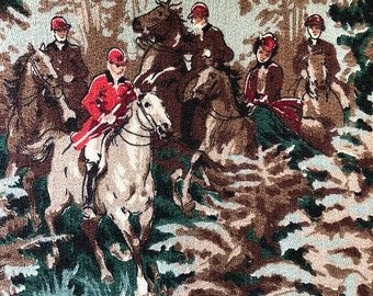 "40's Markwood Fabrics - ""RADNOR"" Pictorial Hunting Scene//Horses, Dogs, Deer//Teal, Browns, Red, Taupe on Aqua Ground"