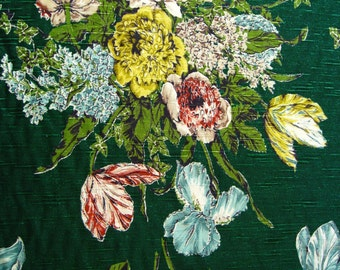 "40s Luscious Co FAB Co Floral Bouquet//""Romney""//Deep Rich Tones of Sensuous Colors on Evergreen Ground//Cot Barkcloth"