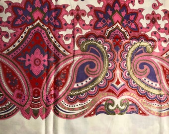 60s BORDER PRINT//Pink Paisley in Silk//Hand Printed//Vivid Carnation, Red, Blue and Olive with Brass Gilded Overlay on Off White Ground
