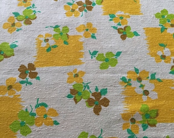 SALE Item - 60s Groovy MCM Raw Linen//Delicate Flowers Lime Grn, Butterscotch, Maize Yello, Nat Grnd//OP