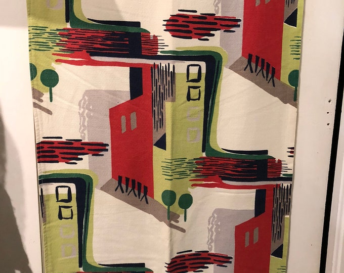 Featured listing image: 50's RARE Modern Cityscape Barkcloth Panel//Import  Red, Green, Grey, Chartreuse, Black, Taupe on Off White Ground