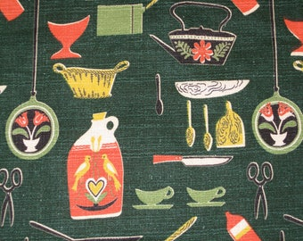 "40's ""Holiday Prep"" CoFabco Vat Print//Kitch, Novelty Barkcloth//All cotton//Red/Yellow/Black/White & Lime on Evergreen Ground"