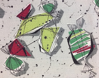 50's Candilicious Abstract Barkcloth Panel//Eames Style Print//Lime Red, Green and Black Splashes on Silver Ground
