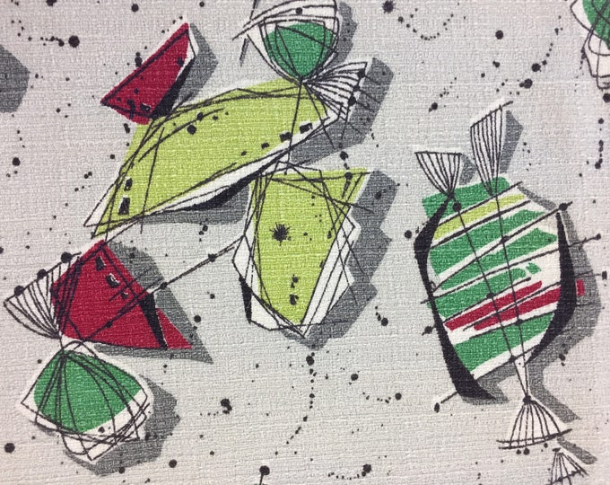 Featured listing image: 50's Candilicious Abstract Barkcloth Panel//Eames Style Print//Lime Red, Green and Black Splashes on Silver Ground
