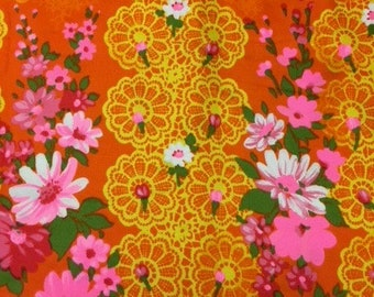 60's Dazzling Neon Floral Hawaiian Border Print Sizzing in Hot Pink, Orange, Gold Lattice Work with Delicate Boquets of Pink Daisies