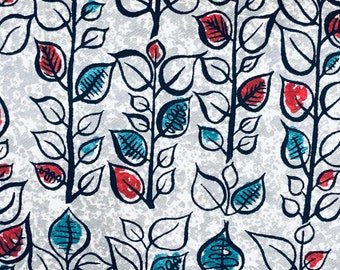 60s Vintage Garden Print//Upholstery Weight//100% Cotton// Teal, Red Strands of Black Lined Leaves on a Grey and White Ground