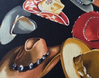 "90s Alexander Henry Collection ""SANTA FE"" Multi Tone//The Many Hats We Wear//Cotton Fabric// on Black Ground"