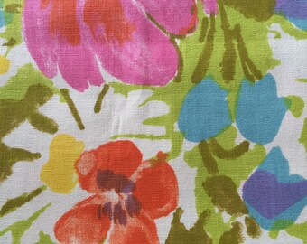 """SPRING SALE  60s """"Cora"""" Allover Spring Floral, Bursting with Colors of Periwinkle, Apricot, Fuschia, Mustard, Olive, Lemon n' Lime//OP"""