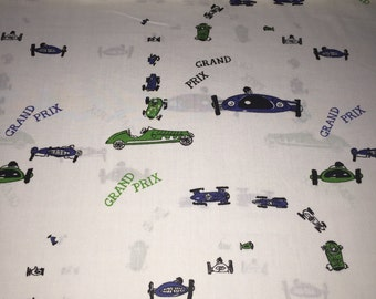 "SALE - 60s Wamsutta Original Design ""Grand Prix"" Motorway Novelty Print//Emerald Green and Navy Blue Cars//White Grnd//Cotton Blend"