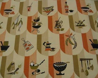 "60s  ""Colonial Scallops"" Vintage Kitchy BBQ Fabric//Conversational, Taupe Orange, Corn, Watermelon, Fruit, Lemonade, on Beige Ground"