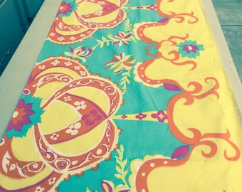 70's Psychadelic Novelty Border Print//Wamsutta Hand Printed Import// Cotton//Brilliant Neon Colors//New Old Stock