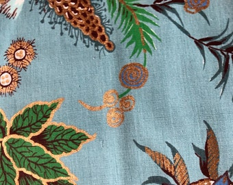 "50s Baronet Fabrics ""SAXONY"" Bright Cobalt Blue Flowers, Emerald/Teal Leaves, Aqua Thistle, with Brass Overlay, on Robin's Egg Blue Grnd"