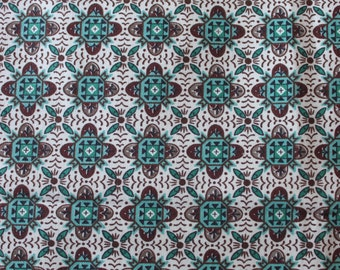 "60's Mid Century Modern Tile Foulard// Town and Country ""YORK"" VAT Print - Geometric Cotton//Torquoise & Brown on white Ground"