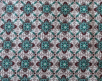 "60's MCM Tile Foulard// Town and Country ""YORK"" Vat Print - Geometric Cotton//Turquoise & Brown on White Ground"