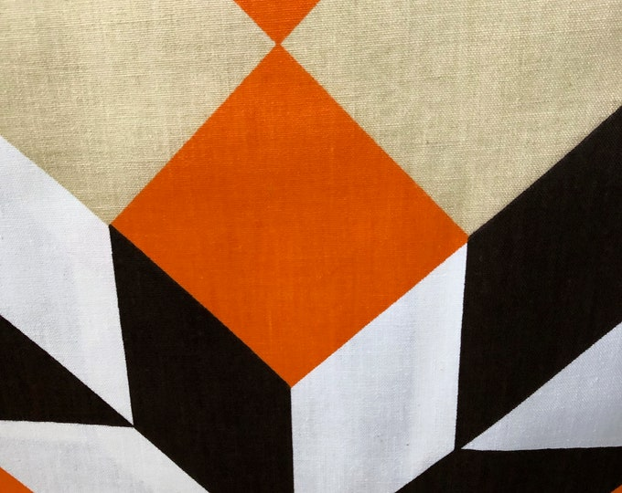 "Featured listing image: 70s ""DIMENSIONS"" Kanley Exclusive Print//Norfix Super Stain Repellent//Orange, White, Beige, Black"