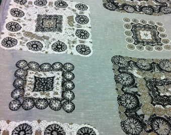 """50s """"Spanish Lace"""" Decorama Exclusive Silk Print//Hand Printed Blocks & Wheels of Black, White, Brass Overlay on Silver Ground"""