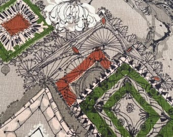 """50s Fabulous Prints by Tower """"Windsor"""" Dramatic MCM Abstract/Vintage Barkcloth/Diamonds and Carnations on Freehand Lattice Work"""