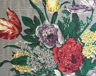 "40s Luscious CO FAB CO Floral Bouquet//""Romney""//Deep Rich Tones of Sensuous Colors on Silver Ground//Cotton Barkcloth Shantung/Dead Stock"