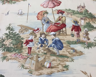 "PKaufmann ""Vintage Summertime On the Beach"" Children, Sand Pails, Doggies, Boats and Umbrellas"