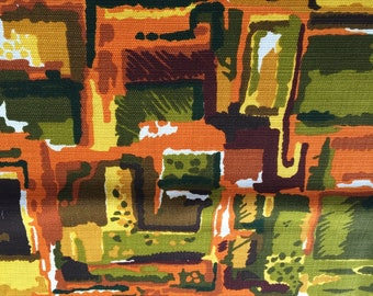 "50's ""IT'S TIKI Magic TIME"" Abstract//Gorgeous Lush Colors of Orange, Gold, Green, Mustard, Pea Green & Oxblood"