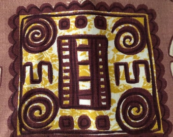 """50s Vintage Novelty """"TIKI"""" Fabric//Inca/Aztec Movement// Blocks & Circles of GEO Medallions//Chocolate, Off White, Gold on Taupe ground"""