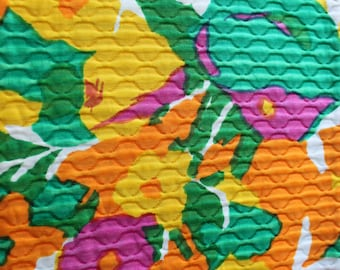 1960's NEON MCM Matelasse//Allover Floral Print - 100% Cotton//Dazzling Orange, Yellow, Grape, Green on White Ground  - Rare Weave